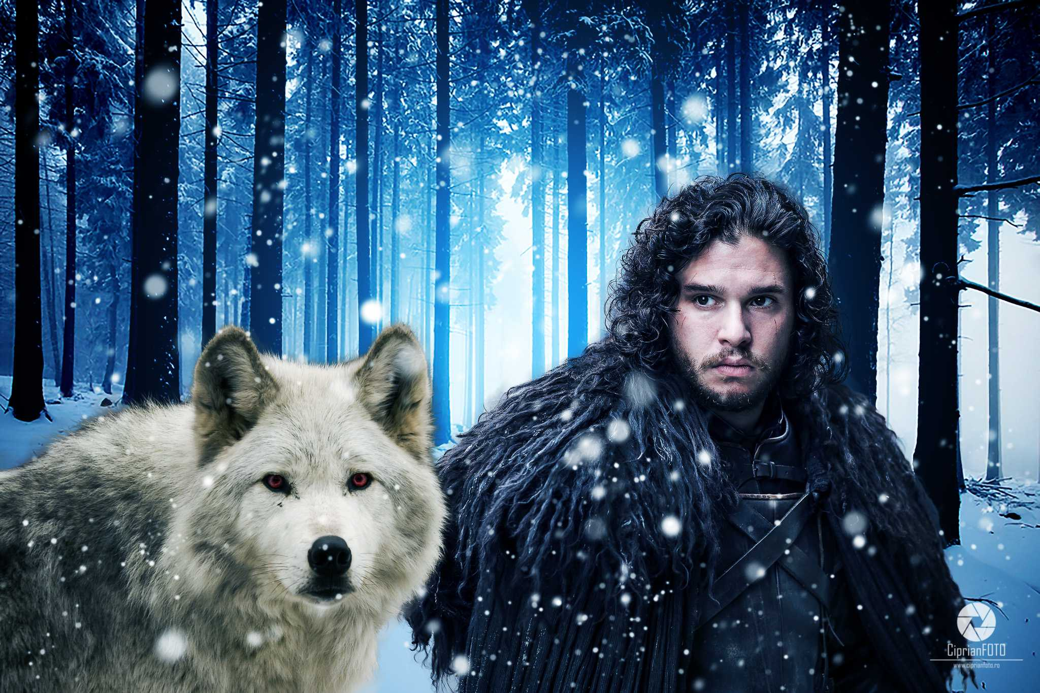 Jon Snow And His Ghost Direwolf, Photoshop Manipulation Tutorial, CiprianFOTO