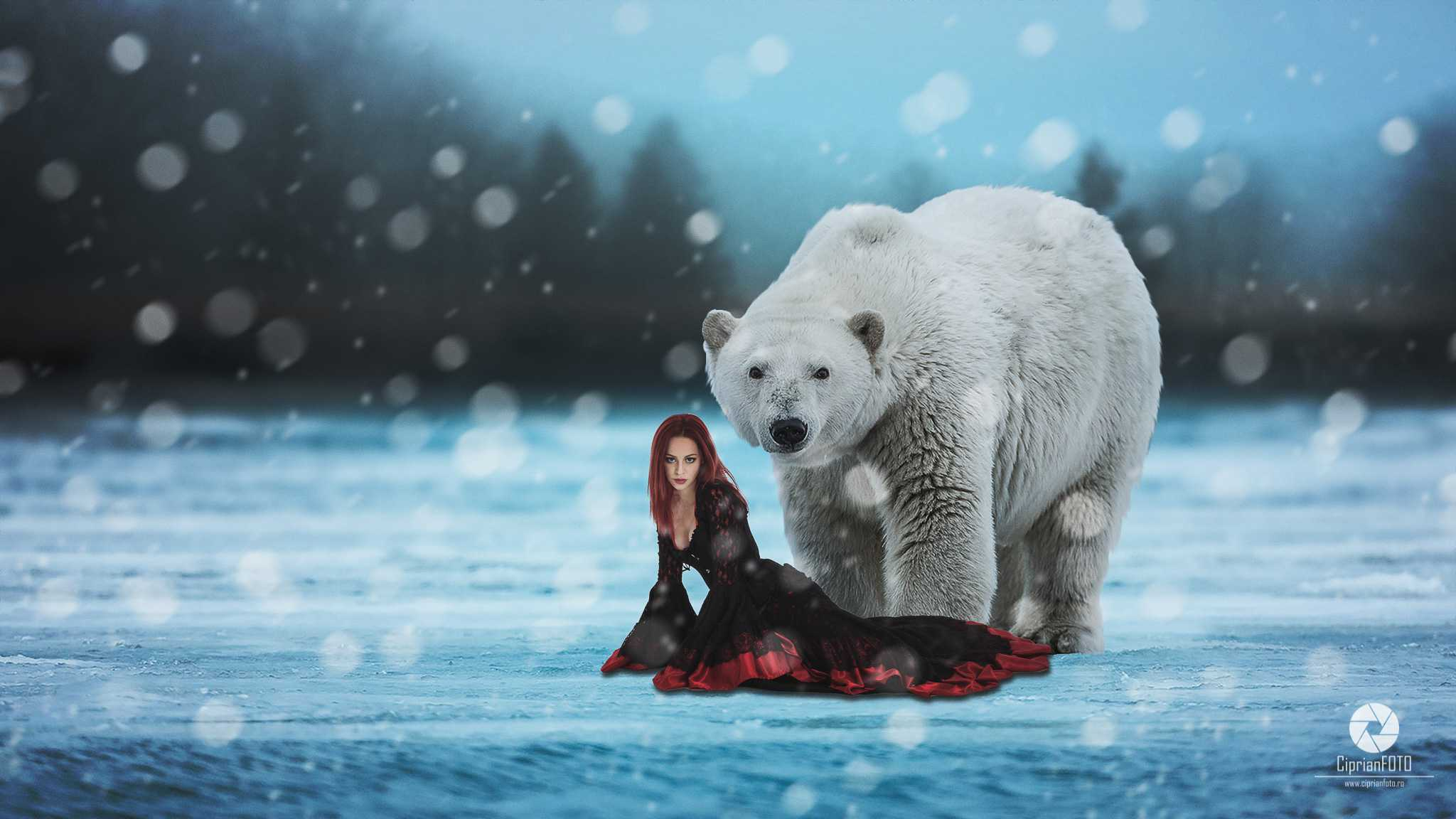 The Polar Bear And The Beautiful Woman, Photoshop Manipulation Tutorial, CiprianFOTO