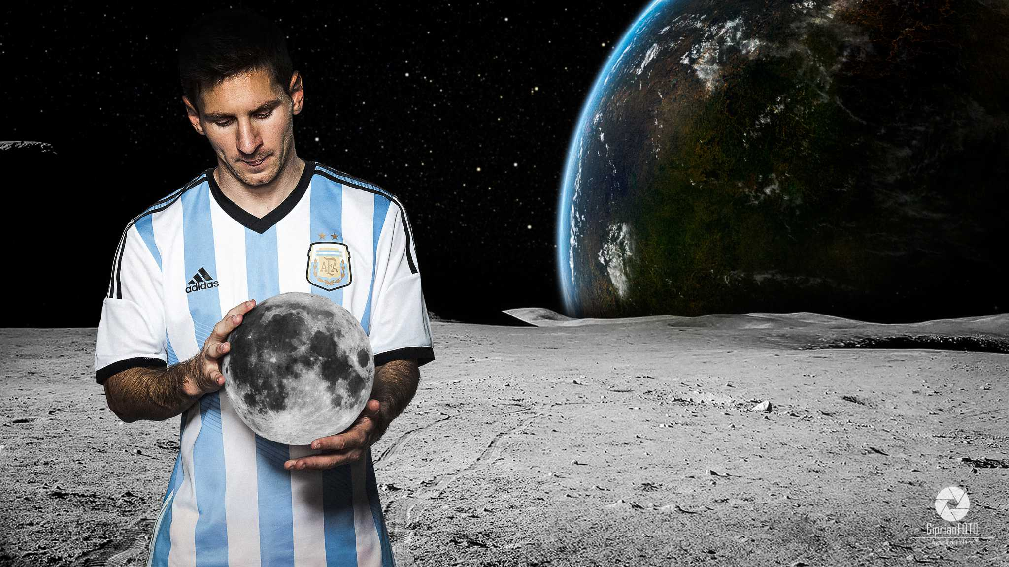 Lionel Messi With Moon In Hands, Photoshop Manipulation Tutorial, CiprianFOTO