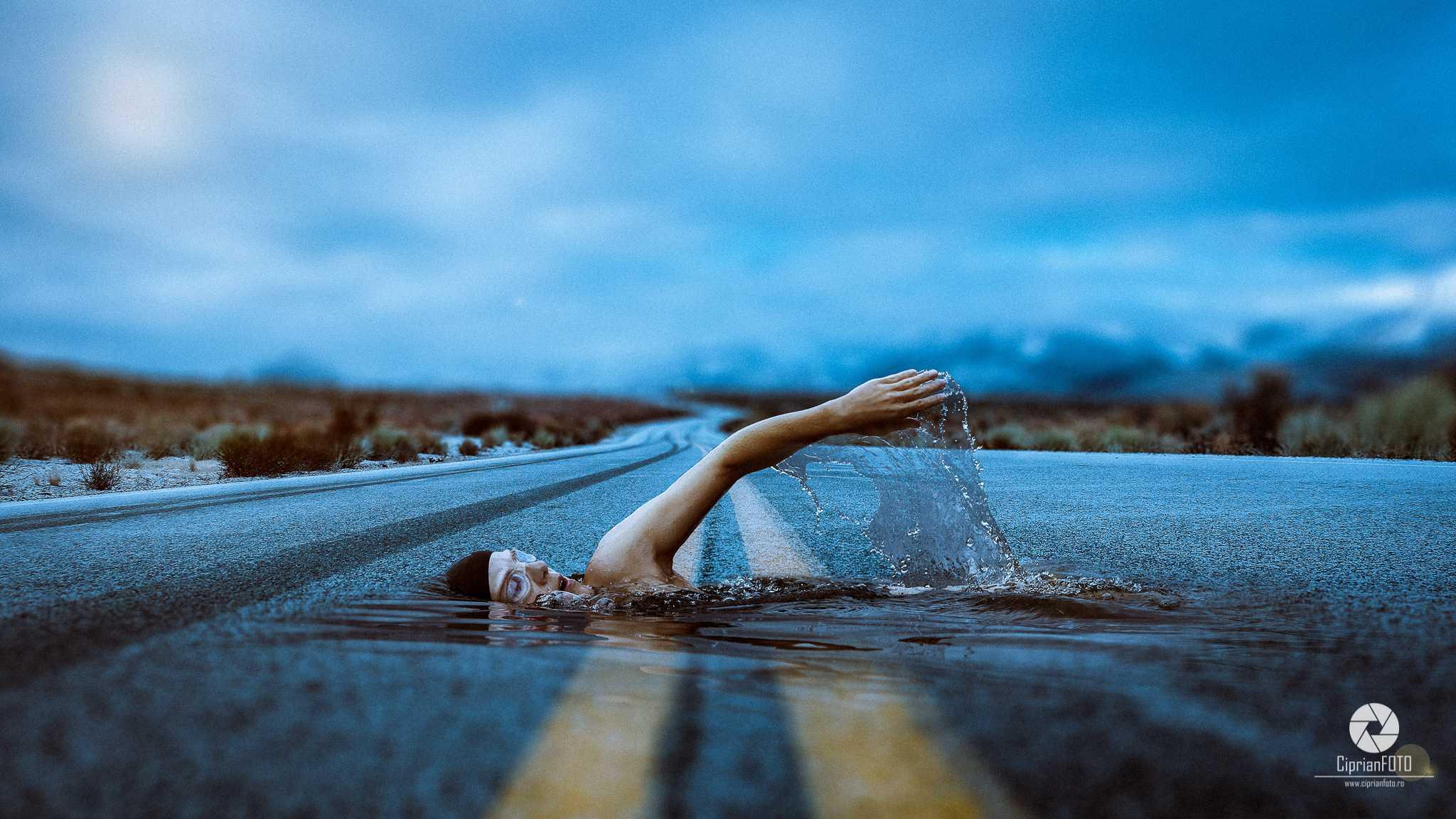Swimmer On The Road, Photoshop Manipulation Tutorial, CiprianFOTO