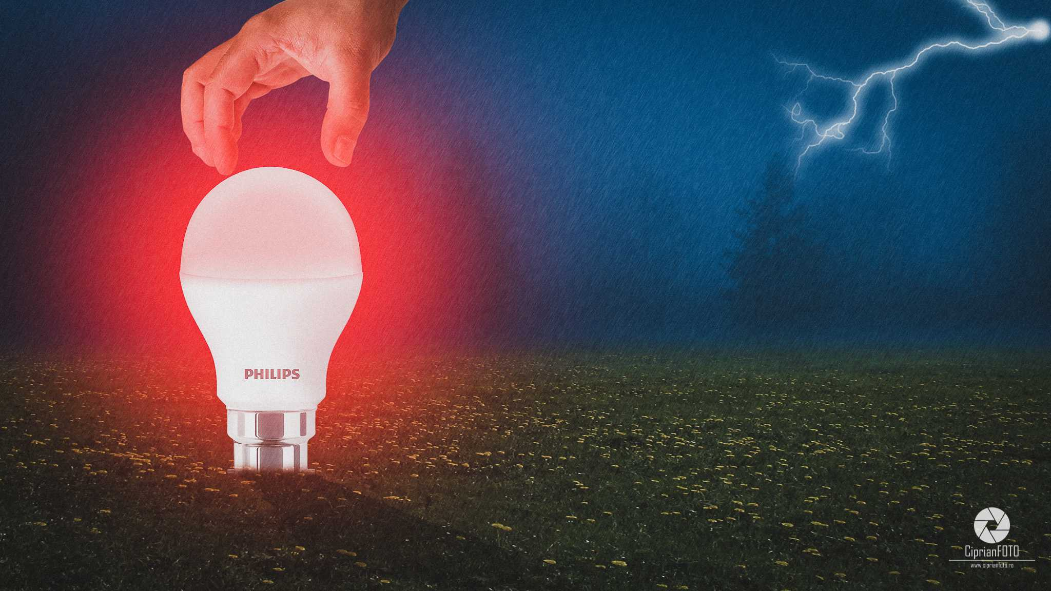 Philips LED Bulb, Photoshop Manipulation Tutorial, CiprianFOTO