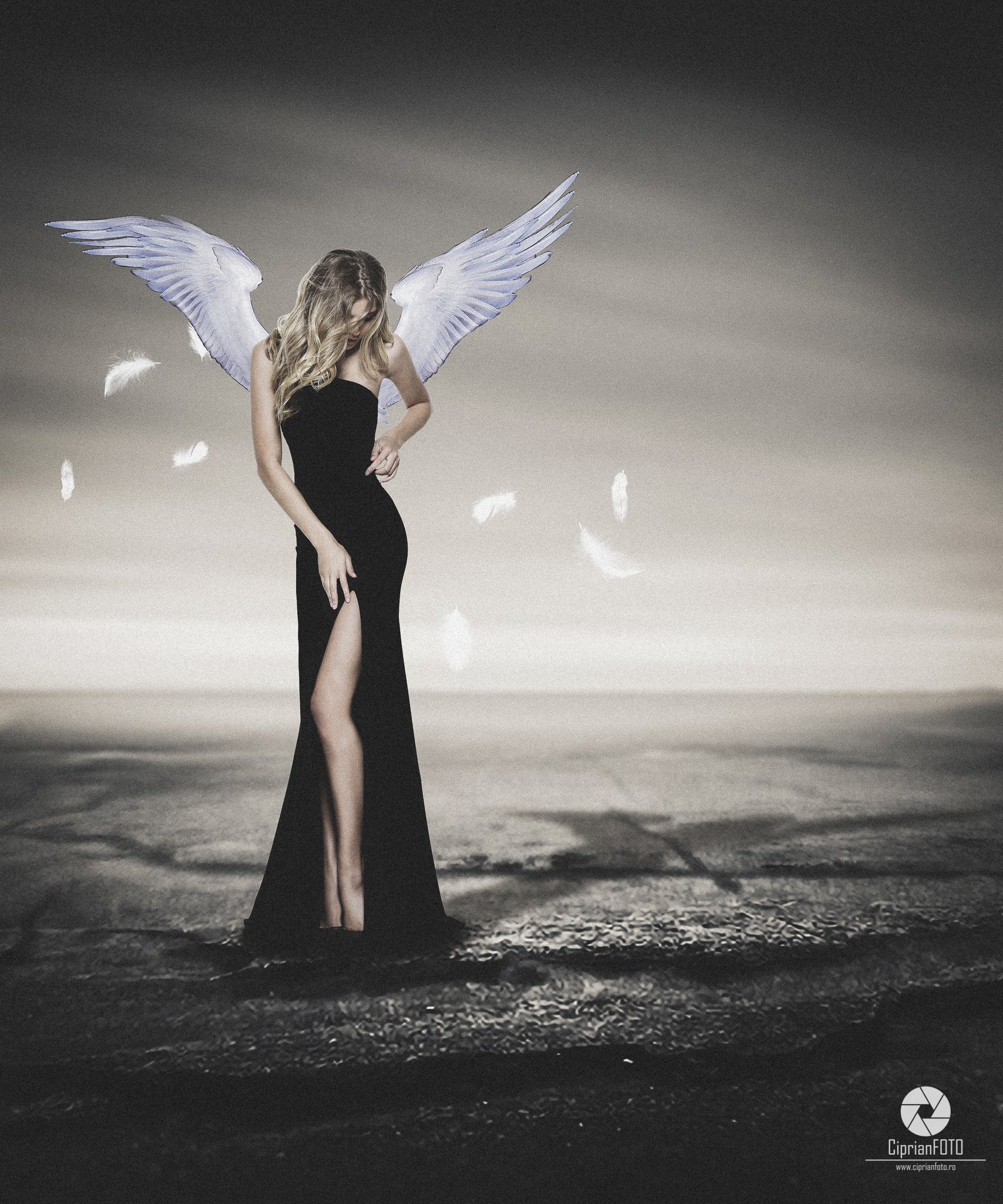 Woman With White Wings, Photoshop Manipulation Tutorial, CiprianFOTO