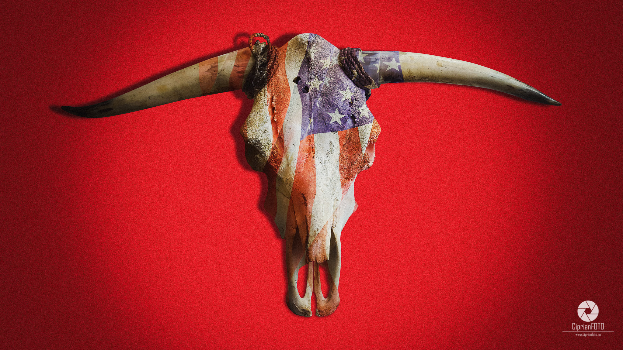 Photoshop Tutorial, American Ox, Skull, How To Put A Flag On Skull Bone, CiprianFOTO